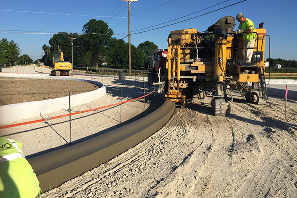 A road being readied for concrete by Karvo Paving Company's Concrete Division